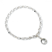 Sterling Silver Charm Bracelet embellished with Swarovski Crystal
