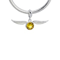Sterling Silver Golden Snitch with Crystals slider charm