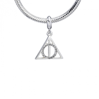 Sterling Silver Deathly Hallows with Crystals Slider Charm