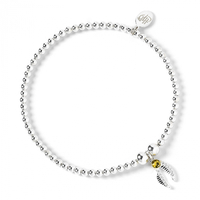 Golden Snitch Charm on Sterling Silver Ball Bead Bracelet with Swarovski Crystals