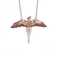 Fawkes Rose Gold Plated Necklace in Sterling Silver with Crystals