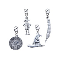 Slider Charm Set of 4 - Dobby, Sorting Hat, Feather Quill & Ministry of Magic