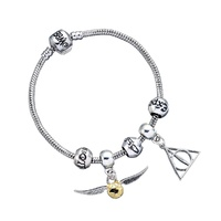 Charm Bracelet & Slider Set - Golden Snitch and Deathly Hallows