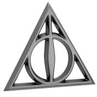 Sticker Deathly Hallows Premium 3D Black Chrome Logo Emblem