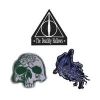 Set of 3 Harry Potter Deluxe Edition Crests - DEATHLY HALLOWS Iron On Patches Badges