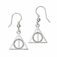 Deathly Hallows Sterling Silver Earrings with Swarovski Crystals