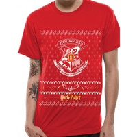 Christmas at Hogwarts Crest Red Fitted T-Shirt