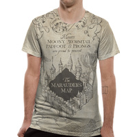 Unisex Marauders Map Sublimiated Pattern T-Shirt