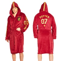 Mens Bath Robe Quidditch Potter Hooded Fleecy  Size Large