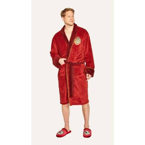 Mens Bathrobe Hogwarts Crest Fleecy