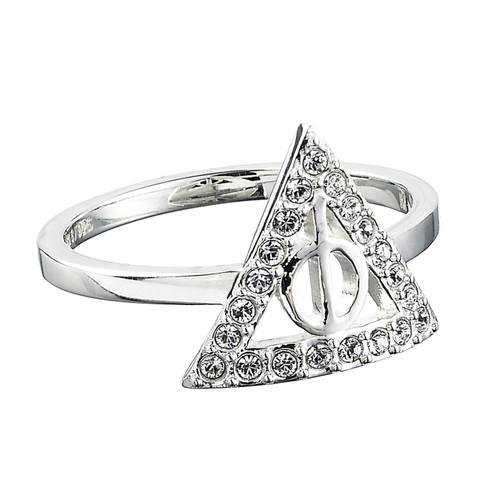 Ring in Sterling Silver embellished with Swarovski Crystals The Deathly Hallows